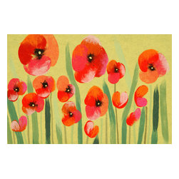 Trans-Ocean - Poppies Red Mats 3237/24 - The highly detailed painterly effect is achieved by Liora Mannes patented Lamontage process which combines hand crafted art with cutting edge technology.The 100% Polyester face, and 100% Recycled Rubber non-skid backing make this suitable for Indoor or Outdoor use and easy to clean.The low profile nature of these Lamontage mats is ideal for use in front of doors or in the kitchen, and the fun designs will bring excitement to any room of the house.