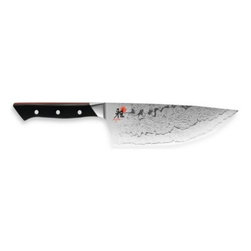 "Miyabi - MIYABI Fusion 6-Inch Wide Chef's Knife - This remarkable 6"" wide chef's knife melds the best of eastern and western craftsmanship, style and technology. The Fusion line offers the sharpness of traditional Japanese cutlery but with blade styles more suited to western cutting techniques."