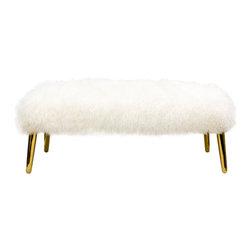 "Jonathan Adler - Jonathan Adler Mongolian Lamb Large Bench - Eye-catching luxury makes a bold statement on the Jonathan Adler Mongolian Lamb large bench. Atop tapered matte brass legs, a long-haired sheepskin seat provides a posh aesthetic. 44""W x 18""D x 17""H; Soft foam cushion"