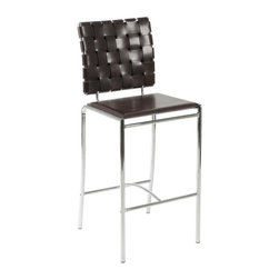 Euro Style - Brown Leather Basketweave Counter Stools with - Set of 2. Chromed steel frame. Woven leather chair back. Smooth leather seat. Pictured in Brown Leather and Chrome. Some assembly required. Assembly Instructions. Counter Height: 16.5 in. W x 16.5 in. L x 39 in. H (15.68 lbs.), Seat Height: 26 in. H. Bar Height: 16.5 in. W x 16.5 in. L x 42.5 in. H (16.56 lbs.), Seat Height: 30 in. H
