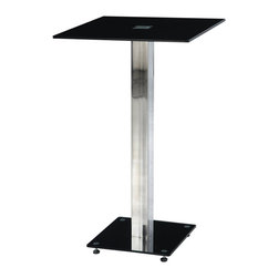 Global Furniture - Global Furniture USA MD096BT Square Black Glass Bar Table w/ Black & Chrome Base - Enhance the trendy contemporary look of your casual dining area with this chrome metal and glass bar table that features a square chrome metal leg, black base and square glass top.