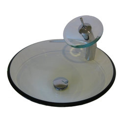 """Novatto - Novatto Bonificare Clear Glass Vessel Sink w/ Faucet, Drain and Mounting Ring - Enhance and harmonize your bath with Novatto's clear round glass vessel and matching chrome waterfall faucet. Novatto uses advanced technology, including computerized glass processing and Italian furnaces, giving our glass basins unmatched structural integrity. This vessel sink and faucet combo is a great way to harmonize the decor by unifying color and textural design of the bathroom. The matching faucet disc directs the water flow into a graceful waterfall. When a bath demands superior design and quality, Novatto's glass vessels add that touch. Each glass sink and faucet features its own beauty of color, structural character and texture adding a sense of purity, elegance and distinctive look to any design. Glass vessel sinks can be used either in a powder room as a focal point or in a master bedroom for everyday use. Novatto's tempered glass cannot be compared to the everyday synthetic porcelains and ceramics. The glass vessel is constructed from thick 0.5 inch high tempered glass.  The waterfall faucet is constructed from solid brass with a high pressure ceramic cartridge. A single handle controls temperature and water flow. This sink and faucet set is designed for an above counter, single hole installation with standard U.S. plumbing connections. A matching chrome 0.5"""" inch tall mounting ring and 1.5 inch pop-up drain is included. Glass Vessel Dimensions: 16"""" x 5.5"""", Overall Faucet Height: 12 inches; Spout Height: 7.75 inches; Spout Reach: 5.5 Inches. Just add water and enjoy Novatto's Limited Lifetime Limited Warranty."""