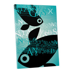 """PingoWorld - Zodiac Sign Pisces Gallery Wrapped Canvas Print, 30""""x20""""x1.25"""" - Zodiac Sign Pisces. Gallery wrap on archival quality canvas using Epson Ultra-Chrome inks and pine wood frames."""