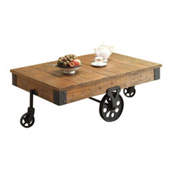 "Coaster - Coffee Table (Rustic Oak) By Coaster - Add some country style to your room with this rustic coffee table, featuring a distressed wood look. Matching end table available separately. Dims: 47"" X 31"" X 16.50""."