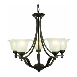 DHI-Corp - Ironwood 5-Light Chandelier, Statuary Bronze - The Design House 509182 Ironwood 5-Light Chandelier is made of formed steel, snow glass and finished in statuary bronze. This 5-light chandelier is rated for 120-volts and uses (5) 60-watt medium base incandescent bulbs. This chandelier's sprawling arms meet (5) upward facing lamps gently diffusing light from above. Measuring 24-inches (H) by 26.75-inches (W), this 12.1-pound fixture has a 48-inch chain to extend from high ceilings. Bold arms and clean details add a modern accent in a kitchen, dining room or entry way. This product is UL and cUL listed. The Ironwood collection features a beautiful matching pendant, sconce, ceiling mount and vanity light. The Design House 509182 Ironwood 5-Light Chandelier comes with a 10-year limited warranty that protects against defects in materials and workmanship. Design House offers products in multiple home decor Categories including lighting, ceiling fans, hardware and plumbing products. With years of hands-on experience, Design House understands every aspect of the home decor industry, and devotes itself to providing quality products across the home decor spectrum. Providing value to their customers, Design House uses industry leading merchandising solutions and innovative programs. Design House is committed to providing high quality products for your home improvement projects.