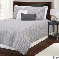 None - Parker Cotton Duvet Cover - Simplicity abounds in the fabulous Parker seersucker duvet available in your choice of linen,grey or white finish. Made from 100-percent cotton,this top rated duvet features a white percale reverse and full zipper closure.