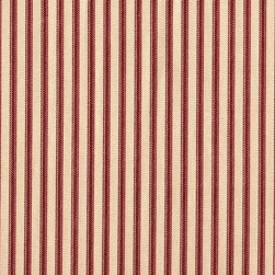"Close to Custom Linens - 90"" Tablecloth Round Ticking Stripe with Gingham Topper Crimson Red - A charming traditional ticking stripe in crimson red on a beige background. Includes a 90"" round cotton tablecloth."