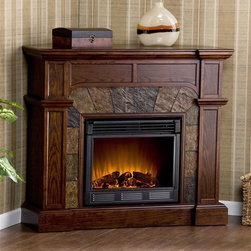 Holly & Martin - Cartwright 45.5 in. Electric Fireplace - Espresso finish. Eco-friendly. Ventless. Sleek columns on either side. Crown molding. Remote control requires two AAA batteries. Realistic flickering flame effect. Long life LED lights. 120V-60Hz, 1500W / 5000 BTUs, 12.5 Amp. Easy to use adjustable thermostat. Safety thermal overload protector. Adjustable flame brightness control. Plugs into standard wall outlet with 6 ft. cord. Tested to heat 1500 cubic feet in only 24 minutes. Uses about the same energy as coffee maker. 100% energy efficient with low operating costs. Produces zero emissions and pollutants. No combustion glass remains cool to touch. Mantel supports upto 85 lbs.. Accommodates upto 47 in. flat screen TV. Made from poplar, resin, veneer, MDF, metal and glass. Assembly required. Firebox front: 23 in. Wide x 20 in. H. Corner: 45.5 in. W x 26.5 in. D x 40.25 in. H (116 lbs.). Flat wall: 45.5 in. W x 15.5 in. D x 40.25 in. H (116 lbs.)This fireplace features a fabulous espresso hue that is accented with decorative earth tone tiles that arch over the firebox. This particular fireplace is designed with the capability of fitting against a flat wall or in a corner with ease. Requiring no electrician or contractor for installation allows instant remodeling without the usual mess or expense. In addition to your living room or bedroom, try moving this fireplace to your dining room for a romantic dinner or complement you media room with a ventless fireplace below your flat screen television. Use this great functional fireplace to make your home a more welcoming environment.
