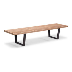 Zuo Modern - Heywood Triple Bench - A classic of Mid-Century Modernism, the Heywood bench is beautiful yet utilitarian. Made of a natural wood top.