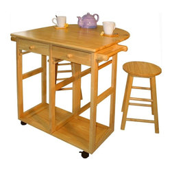 Yu Shan - Mobile Breakfast Cart w Two Stools & Drop-Lea - Includes Cart w Two Stools. Stools can be stored in cart. Two Drawers. Two Towel Bars. Wood Construction. Stool: 24 in. H. 27.75 in. L x 16 in. W x 33.12 in. H