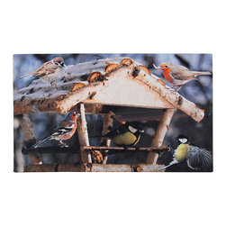 Esschert Design - Printed Doormat - Bird Feeding House - This charming scene of birds gathering around a feeder is such an inviting way to welcome guests to your door. Bright, playful and totally ecofriendly, this rubber doormat is both useful and lovely.