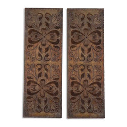 Uttermost - Alexia Wall Panels, Set of 2 - Out of the ordinary and onto your walls! These decorative, duo wall panels are rust brown with antiquing and distressing in all the right places. Exotic Moroccan floral wall art belongs in your bedroom, entryway and beyond.