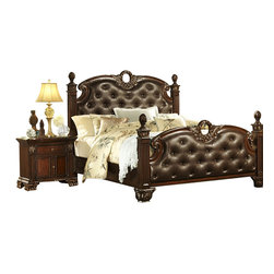 Homelegance - Homelegance Orleans 2-Piece Poster Bedroom Set in Rich Cherry - The grandeur of old world Europe is flawlessly executed in the Orleans collection. Acanthus leaf carvings feature prominently and blend with elegantly appointed moldings on each piece of this stately bedroom. Wreath accents lend dramatic flair to the bed and mirror as does the sculpted lion's foot base, supporting each of the case pieces. Heavy pilasters rise with and are topped with carved finials on the tufted dark brown bonded leather headboard and footboard. A rich cherry finish with gold kitchen & dining kitchen.
