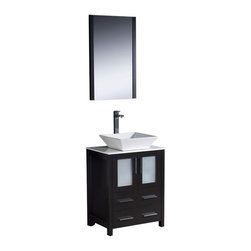 """Fresca - Torino 24"""" Espresso Vanity w/ Vessel Sink Soana Brushed Nickel Faucet - Fresca is pleased to usher in a new age of customization with the introduction of its Torino line.  The frosted glass panels of the doors balance out the sleek and modern lines of Torino, making it fit perfectly in eithertown or country decor."""