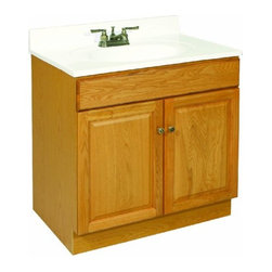 "DHI-Corp - Claremont Honey Oak Vanity Cabinet with 2-Doors, 30"" by 18"" by 31.5"" - The Design House 531996 Claremont Honey Oak Vanity Cabinet features a honey oak finish with antique brass hardware. Perfect for a shabby chic or vintage inspired bathroom, this vanity has clean lines and concealed hinges. The 2-door construction gives you plenty of storage to keep your countertop free of clutter. Measuring 30-inches by 18-inches by 31.5-inches, this vanity can fit into a small to medium sized bathroom. The frameless design provides ample storage and accessibility to store toiletries for the entire family. Modern construction meshes with subtle vintage details for an elegant addition to your bathroom. This product is perfect for remodeling your bathroom and matches granite countertops and colored walls. Vanity top is not included with this product. This vanity comes with cam-lock connectors for fast and easy assembly. The Design House 531996 Claremont Honey Oak Vanity Cabinet has a 1-year limited warranty that protects against defects in materials and workmanship. Design House offers products in multiple home decor categories including lighting, ceiling fans, hardware and plumbing products. With years of hands-on experience, Design House understands every aspect of the home decor industry, and devotes itself to providing quality products across the home decor spectrum. Providing value to their customers, Design House uses industry leading merchandising solutions and innovative programs. Design House is committed to providing high quality products for your home improvement projects."
