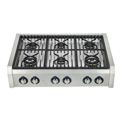 None - Hypotheory Professional Style 36-inch Range Top/ Cooktop - Cook up delicious meals wherever you go with this 36-inch range top by Hypotheory. High quality brass triple ring burners provide a multitude of cooking options with rapid heating while eliminating corrosion to provide easy cleaning.