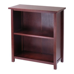 Winsome Wood - Winsome Wood Milan Storage Shelf / Bookcase with Antique Walnut Finish X-82249 - This spacious shelf is ideal for displaying your treasure or storage your books.  Simple and elegant design is a perfect additional to any home.  Add baskets to create a new function and look for the shelf.  Made of combination of solid and composite wood in Antique Walnut Finish.  Assembly Required