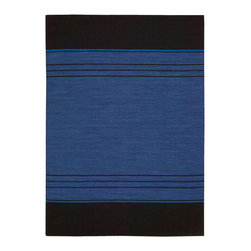 Nourison - Calvin Klein PLA04 16002 Sapphire Plateau Area Rug Collection - Hand loomed flatweave the look and feel of iconic Calvin Klein designs, in flat-weave, hand-loomed rugs. Made of pure wool, these amazingly textured rugs feature solids and stripes in unique colors, and have a classic simplicity that is ideal for contemporary living.