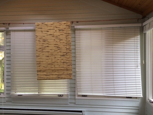 outside or inside mount for bamboo woven shades in sunroom