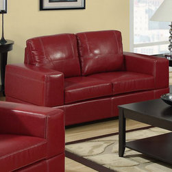 Monarch - Red Bonded Leather / Match Love Seat - This chic red bonded leather love seat will make a wonderful addition to your living room. Its contemporary shape enhances any room with big, plush back and box seat cushions. A stitched design enhances the cushions, as well as the outsides of the square track arms. The modern design creates an inviting feel, and tapered wooden block feet support this piece. It is also a perfect match with the chair and sofa.