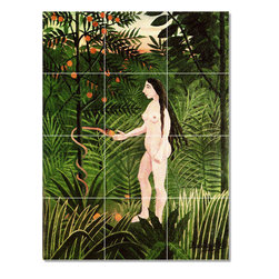Picture-Tiles, LLC - Serpent Eve Tile Mural By Jean Jacques Rousseau - * MURAL SIZE: 24x18 inch tile mural using (12) 6x6 ceramic tiles-satin finish.