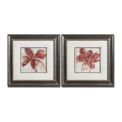 Uttermost - Floral Gesture Framed Art Set of 2 - These Vibrant Prints Are Accented By Faux, Beige Linen Mats. Frames And Fillets Have A Silver Leaf Base With A Light Brown, Gray And Black Wash. Prints Are Under Glass.
