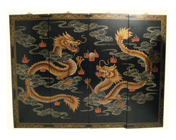 "n/a - Chinese Happy Dragon Oriental Wall Panels, 56"" Wide X 40"" H - Now available in two sizes these original Chinese wall plaques are hand painted in traditional Asian ""wise Dragons chasing flaming jewel"" design. A handsome matte finish with hand painted raised gold Chinoiserie has what it takes to make a unique and classic art statement in your home. Rich told tones with hints of pastel reds, olive green and greys make this a easy fit in almost any room.This set of four wooden Oriental lacquered panels comes with brass hangars for easy hanging. We suggest a finish nail as these panels are light and made for hanging. Available in two sizes. 48"" wide or 56"" Wide. Use above a cabinet, couch, even as a headboard. Purchase now, supplies are limited on quality hand made imports."