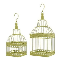 "Benzara - Bird Cage with Unique and Solid Design - Set of 2 - Bird Cage with Unique and Solid Design - Set of 2. Express your love to your birds along with adding color to your living room or entertainment area with this lovely lime green color bird cage. It comes with a following dimensions 7""W x 7""D 19""H. 6""W x 6""D x 15""H."