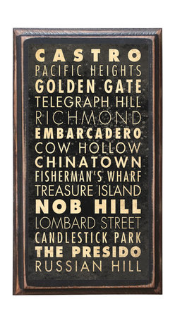"""CrestField - City of San Francisco Points of Interest Decorative Vintage Style Wall Plaque - This vintage style wall plaque is hand made to commemorate the wonderful city of San Francisco. The pine board has a quarter round routed edge and is sized at 7.25"""" x 13"""" x .75"""". The surface is finished with my """"flatter than satin"""" poly finish with a saw tooth hanger on the back. Would look great in any decoration project, home or office."""