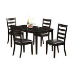 Monarch Specialties - Monarch Specialties 5-Piece 59x36 Dining Room Set in Cappuccino, Dark Wood - Revamp your casual dining area with this trendy cappuccino cherry veneer finished table. Uniqueness is added to this piece with the symmetrically angled corners and the intricate almond shaped carvings along the slightly curved edges. The solid wood tapered square legs are durable and offer sturdy support. This sharp looking table is a wonderful addition to any decor. What's included: Dining Table (1), Side Chair (4).