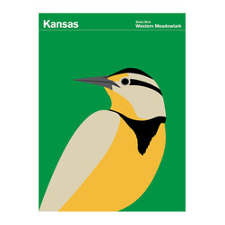 Kansas Western Meadowlark Print - The Western Meadowlark is a common songbird in open country well across the majority of the western part of the North American continent. Part of the family of blackbirds and orioles, the adults have a black and white striped head. Often seen perched on fence-posts in grasslands and agricultural areas singing its distinct 7-10 note melody (their flute-like song usually ends with 3 descending notes).Print Collection has commissioned artist Julian Montague to create round one of our State of America series. These bright, bold, graphic images iconicize the quirky Official State Insignias from around the nation. Red States and Blue States may now be a thing of the past.