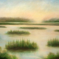 """""""Shining Marsh"""" Original Oil Painting by Jim Afroukhteh - An abstract styled landscape featuring an ethereal picture into a marsh-like environment. Oil on canvas, ready to hang, & gallery style canvas wrap without any kind of frame."""