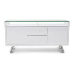 Zuri Furniture - Blanco High Gloss Modern Buffet - White - Functionality and world class design come together in our exclusive Blanco Sideboard. High gloss white cabinetry and sparkling chrome legs create a sleek and sharp presence while organizing and delighting you and your guests. This piece may be used as a credenza, a sideboard or even as a TV/media cabinet.