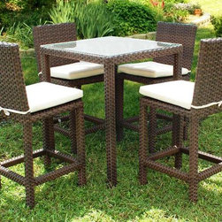 Amazonia - Monza 5 Pc Dining Table Set - Set includes Table and 4 Chairs. Aluminum and Synthetic Wicker frame. Free feron gard vinyl preservative for longest strap durability. It works great against the effects of air pollution salt air, and mildew growth. For best protection, perform this maintenance every season or as often as desired. Dark Brown Wicker. Off-white Cushion. Cushions are included. Great functionality. Water Repellent Polyester Cushions. Some assembly required. Warranty: 1 year. Table: 32 in. W x 32 in. D x 38 in. H. Chair: 17 in. W x 22 in. D x 43 in. HGreat quality, stylish design patio sets, made of aluminum and synthetic wicker. Polyester cushion with water repellant treatment. Enjoy your patio with elegance all year round with the wonderful Atlantic outdoor collection.