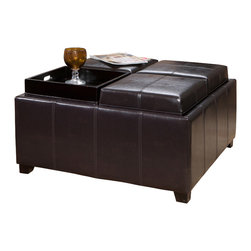 Great Deal Furniture - Harley Leather 4-Tray Top Storage Ottoman, Espresso - The Harley Leather Espresso Tray Top Storage Ottoman is built around a hardwood frame, black stained legs and soft bonded leather. Add storage space to your living room or bedroom with an ottoman that doubles as a coffee table or serving tray when the need arrives.