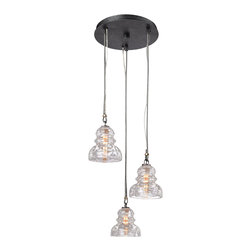 Troy Lighting - Troy Lighting Menlo Park Transitional Pendant Light X-3313F - This Troy Lighting mini pendant light features three small pendant lights hung in a stylish group. From the Menlo Park Collection, it features a stylish blend of traditional and industrial influencing. For added appeal, the shades have been made from a historic pressed clear glass. A clean Old Silver finish pulls the look together.