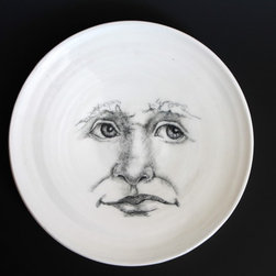 tjCervantesArt - Moon Man Plate - Dreamy Moon man plates made in porcelain, pottery for your kitchen. Don't you just want one?? Great for modern comtemporary home decor. Simplistic, artistic, functional and unique. Each is hand drawn so you won't find another quite like it, Order your plates today. Phases of the moon are in the wurks!