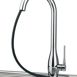 Maestrobath - JAR D Chrome Luxury Kitchen Faucet - This modern single handle kitchen faucet with pull out dual shower is simple yet elegant. The high end Italian faucet can accommodate any type of kitchen sink. The contemporary JAR D faucet is easy to install, keep clean and maintain. Modern chrome faucet is also available in brushed nickel finish. Whether your decorating style is traditional or modern, Maestrobath products will compliment your home improvement project and add a lavish, luxurious feel while protecting your health, safety and the environment.Here is more information related to MaestroBath: Services Provided: Luxury Handmade Italian Vessel Sinks, Modern and Contemporary Kitchen and Bath Fixtures. Business Description: Maestrobath delivers contemporary and modern handmade Italian bathroom sinks and designer faucets to clients with taste of luxury. It carries a wide selection of beautiful and unique Travertine, Crystal and Glass vessel sinks in variety of colors and styles. Maestrobath services homeowners and designers globally.