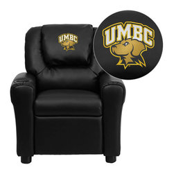 """Flash Furniture - Maryland, Baltimore County Retrievers Black Leather Kids Recliner with Cup Holde - Get young kids in the college spirit with this embroidered college recliner. Kids will now be able to enjoy the comfort that adults experience with a comfortable recliner that was made just for them! This chair features a strong wood frame with soft foam and then enveloped in durable leather upholstery for your active child. This petite sized recliner is highlighted with a cup holder in the arm to rest their drink during their favorite show or while reading a book. University of Maryland, Baltimore County Embroidered Kids Recliner; Embroidered Applique on Oversized Headrest; Overstuffed Padding for Comfort; Easy to Clean Upholstery with Damp Cloth; Cup Holder in armrest; Solid Hardwood Frame; Raised Black Plastic Feet; Intended use for Children Ages 3-9; 90 lb. Weight Limit; CA117 Fire Retardant Foam; Black LeatherSoft Upholstery; LeatherSoft is leather and polyurethane for added Softness and Durability; Safety Feature: Will not recline unless child is in seated position and pulls ottoman 1"""" out and then reclines; Safety Feature: Will not recline unless child is in seated position and pulls ottoman 1"""" out and then reclines; Overall dimensions: 24""""W x 21.5"""" - 36.5""""D x 27""""H"""