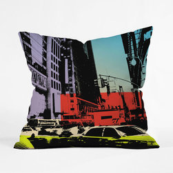 New York Bebop Pillow Cover - Swathes of primary colors waft across the image of a busy New York street on this chic pillow cover. Add it to your sofa to reimagine your space with the look of a bold, urban oasis.