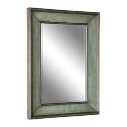 """Uttermost Ogden Antique Light Blue Mirror - Hand rubbed sky blue with ivory undertones and lightly antiqued silver leaf details give the appearance of a blue green finish. This wood frame features a hand rubbed sky blue finish with ivory undertones and lightly antiqued silver leaf details give the appearance of a blue green finish. Mirror has a generous 1 1/4"""" bevel. May be hung horizontal or vertical."""
