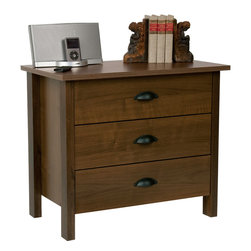 Venture Horizon - Venture Horizon Walnut Finish 3-drawer Chest - Beautifully accent your bedroom decor while creating additional space for your personal items with this lovely three-drawer wooden chest. A gorgeous walnut finish lends this piece a warm,homey feel that works well with most home decors.
