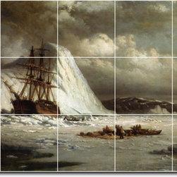 Picture-Tiles, LLC - Icebound Ship Tile Mural By William Bradford - * MURAL SIZE: 24x40 inch tile mural using (15) 8x8 ceramic tiles-satin finish.