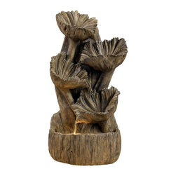 "Kenroy Home - Kenroy 50005AWD Wood Flower Wall/Table Fountain - Inspired by Guatemalan ""wood flowers"", this gorgeous piece combines the charm of the outdoors with soft illumination and flowing water."