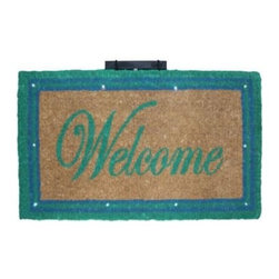 """CocoMatsNMore - CocoMatsNMore Magic L.E.D Doormat Green Border Welcome - 18"""" X 30"""" - Eco-friendly Coco Mat are hand-woven and  made from 100% natural coir . These coco doormats are designed to last for a long time and are easy to maintain and clean by either shaking or hosing it down. Designed with fade-resistant dyes they are durable enough to withstand the harshness of weather and look good througout the year. Furthermore, they keep your house clean by doing a fabulous job of trapping the dirt, mud and debris right at the doorstep."""