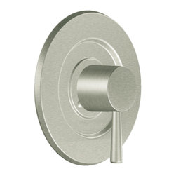 "Moen - Moen T2701BN Brushed Nickel Valve Trim 1-Handle 1-Function Balancing Cartridge - Moen T2701BN is part of the LEVEL bath collection. Moen T2701BN is a new bathroom decor style by Moen. Moen T2701BN has a Brushed Nickel finish. Moen T2701BN Posi-Temp valve only trim fits any MPact common valve system or MPact Posi-Temp 1/2"" valve available separately. Moen T2701BN is part of the Level bath collection. The Level collection stands apart with its clean, geometric lines and sleek modern designs refining style that transcends seamlessly into the modern homes. Moen T2701BN valve trim includes single-function pressure balancing Cartridge. Moen T2701BN is a single handle valve trim only, the handle adjusts temperature. Moen T2701BN valve only single handle trim provides for ease of operation. Moen T2701BN Posi-Temp pressure balancing valve maintains water pressure and controls temperature. Moen T2701BN is approved by ADA. Brushed Nickel has a Lifeshine finish guarantee from Moen and provides style and durability. Moen T2701BN metal lever handle meets all requirements ofADA ICC/ANSI A117.1 and ASME A112.18.1/CSA B-125.1. Lifetime Limited Warranty."