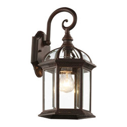 Trans Globe Lighting - Botanica 15 3/4 Inch Outdoor Coach Lantern In Rust - - Glass Type: Clear Glass - Beveled, Hexagon  - Exterior use  - Material: Cast Aluminum  - Bulb not included  - Weather resistant  - Clear beveled glass  - UL Listed for Wet locations  - Matching outdoor collection  - Classic American outdoor decor  - Glass Description: Clear glass with beveled edges and glass canopy in hexagon shape  - 1 Year limited parts, repair or replacement  - Let it shine with windows and skylights in contemporary outdoor lighting. Trans Globe Lighting - 4181RT