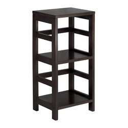"""Winsome Wood - Winsome Wood Leo 2-Tier Narrow Book Shelf / Storage with Espresso Finish X-41329 - With its classic, sturdy design, this elegant shelving unit fulfills both style and functional requirements. Its two sections hold the Espresso Small Storage Basket perfectly. Mix and match with the other Espresso Storage Shelves.  This shelf assembled dimension is 13.39""""W x 11.22""""D x 29.21""""H.  Made from combination of solid and composite wood.  Assembly Required."""
