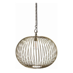 "Arteriors - Arteriors Home - Grayer Pendant - 46731 - The spherical Grayer pendant is created with heavy iron wire that has been finished in antique brass. The vertical cage it creates holds a single bulb. the open framework provides dramatic shadows to its surroundings. Black corded hanging assembly. Features: Grayer Collection Pendant1 LightAntique Brass Some Assembly Required. Dimensions: H: 17"" x 20"" Dia"