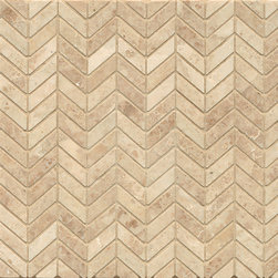 None - Cappuccino Marble Chevron Mosaic Polished (Box of 10 Sheets) - Beautiful luxurious beige and honey tones make this classic cappuccino marble ideal for both contemporary and classic installations. This unique mosaic will add distinction to any application.